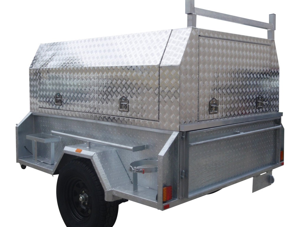 Galvanised Off Road Tradesman Trailer With 500mm Deep Sides 1400kg GVM Jerry Can Holder Gas Bottle Holder u0026 Three Door Aluminum Tradesman Canopy  sc 1 st  Galvanised Trailer Company & Tradesman Trailers - The Galvanised Trailer Company